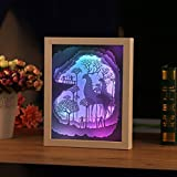 Papercut Light boxes, 3D Shadow Box Led light night lamp, Decorative Mood Light for Kids and Adults, Children Nursery Kids Bedroom Living Room Night Light (Elk1)
