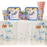 Smallfoot Party Supplies Pack for 16 Guests - Straws, Dessert Plates, Beverage Napkins, Table Cover, and Cups