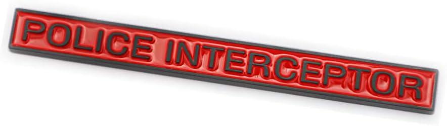 1x Red Police Interceptor Emblem Badge Fit for Explorer Fender Trunk Lid Nameplate Sticker Decoration Red-Black