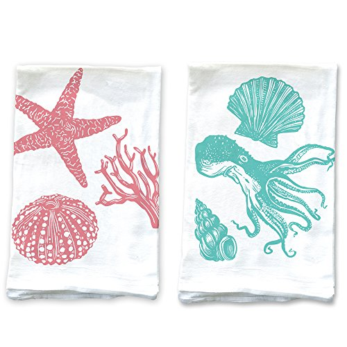 Sea Urchin Eggs (Rigel Stuhmiller Pink Shells and Teal Octopus Set of 2 Screenprinted 100% Cotton Flour Sack Kitchen Towels Printed in)