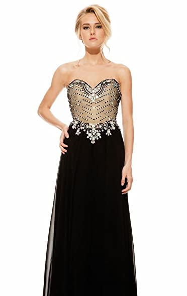 Passat Black 6000K Strapless Beaded Chiffon Gown US2 JK12