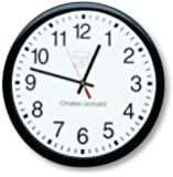 "Charles Leonard Inc. Wall Clock, 14"" Thinline Quartz with 12"" Dial, Black and White, 1 per Box (76820)"
