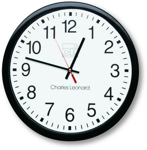 Charles Leonard Wall Clock, 14 Inch Thinline Quartz with 12 Inch Dial, Black/White  (76820) (Clock Plastic Wall)