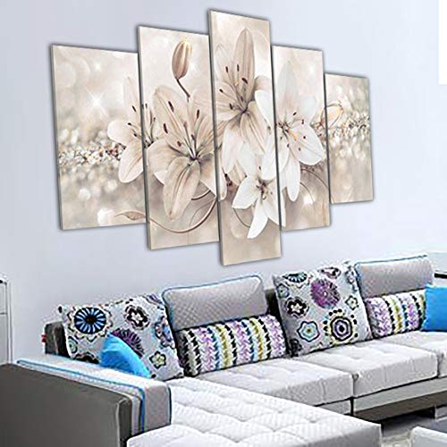 Yyjyxd 2017 5Pcs/Set Flowers Pattern Unframe Art Oil Painting Print Canvas Picture Home Wall Cecoration Hanging Paintings #1204 C-8 X 14/18/22Inch,Without Frame -