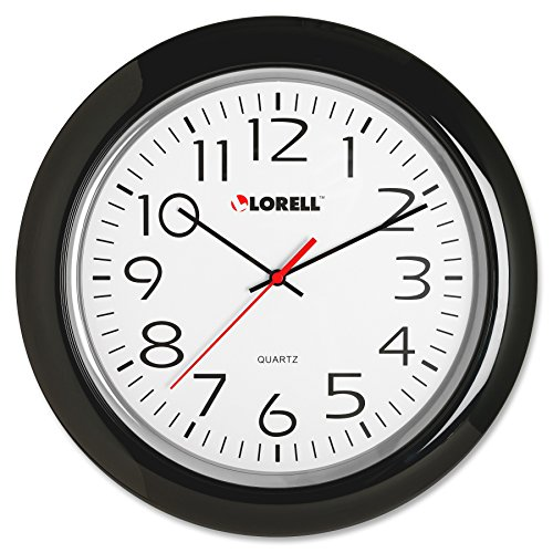 - Lorell Wall Clock with Arabic Numerals, 13-1/4-Inch, Black Frame