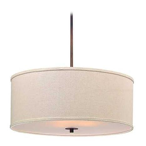 Remington Bronze Drum Pendant Light with Cream Linen Shade - Ceiling ...