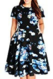 Nemidor Women's Round Neck Summer Casual Plus Size Fit and Flare Midi Dress with Pocket(Blue Print, 16W)