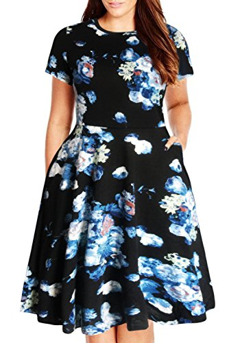 Nemidor Women's Round Neck Summer Casual Plus Size Fit and Flare Midi Dress with Pocket (Blue Print, 18W)