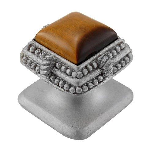 Vicenza Designs K1145 Gioiello  Square  Stone Insert  Style 3  Knob,  Tiger's Eye,  Small,  Satin Nickel