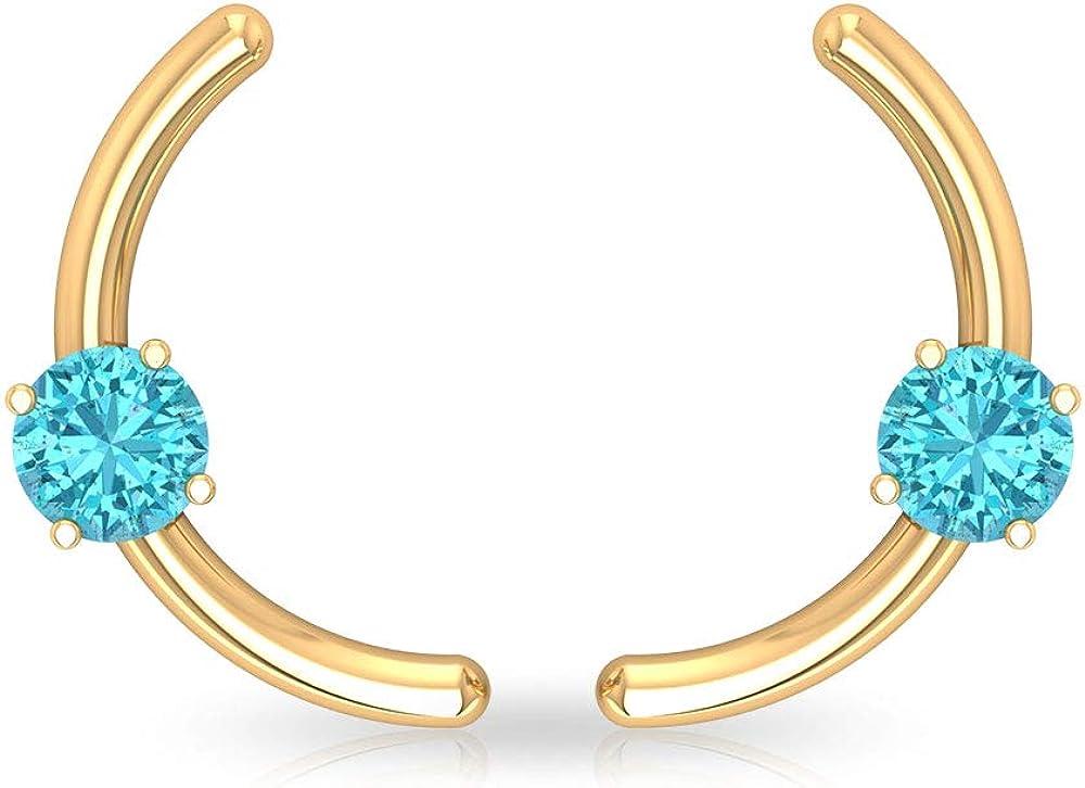 Aretes de cartílago suizo de topacio azul de 0,54 ct, solitario de piedra preciosa, con certificado SGL, pendientes de boda de dama de honor para ella, tornillo hacia atrás