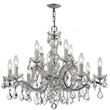 Crystorama 4379-CH-CL-MWP Crystal 12 Light Chandelier from Maria Theresa collection in Chrome, Pol. Nckl.finish,