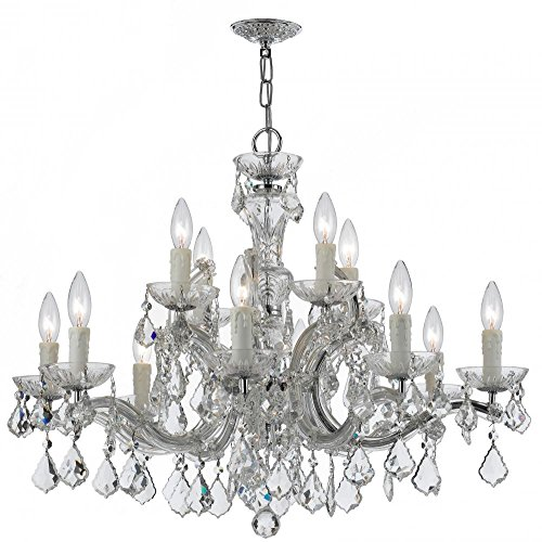 Crystorama 4379-CH-CL-MWP Crystal 12 Light Chandelier from Maria Theresa collection in Chrome, Pol. Nckl.finish, -