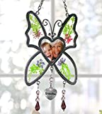 Grandma Butterfly Suncatcher - Pressed Flowers Sun Catcher with a Heart Shaped Picture Opening - Grandmother Sun Catcher