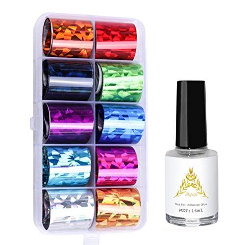 AIFAIFA 10 Rolls Nail Foil Decal, Holographic, Metallic, Nail Foil Wraps Transfer Decals Nail Art DIY Sticker Kit with Nail Glue (Colored Aluminum Foil Set)