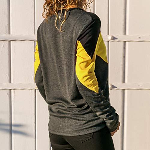 Pullover blockwork Maniche Juleya da Contrasto Lunghe Camicetta Color Fashion Camicetta Giallo Unita a Donna a a in Maniche Lunghe Tinta f18af
