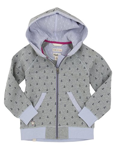 Hatley Kids Girl's Printed Anchors Hoodie (Toddler/Little Kids/Big Kids) Grey Sweatshirt 2T (Toddler) by Hatley