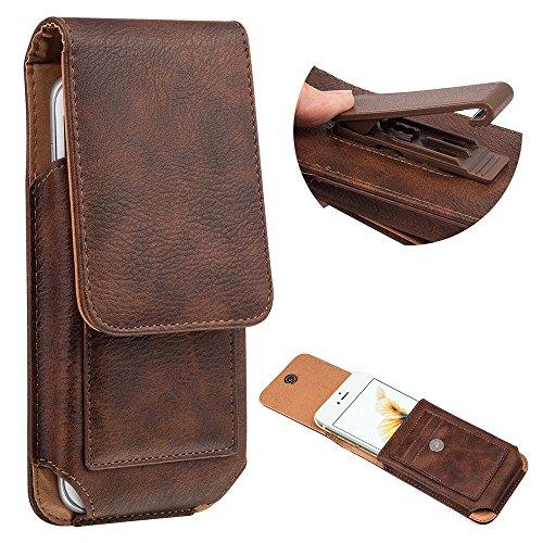 (Premium PU Leather Swivel Belt Clip Phone Holster Pouch Carrying Case Wallet ID Card Holder for Galaxy S10 Plus / S8 Plus / J8 / A7 / LG V50 ThinQ / V40 ThinQ/Blu Vivo XL4 / Vivo 8 / Vivo Go (Brown))