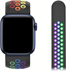 Compatible with Apple Watch Bands 38mm 40mm 42mm 44mm, Rainbow Colorful Sport Breathable Wristband for iWatch Series 1/2/3/4/5/6 Men/Women (Black-Colorful, 42/44mm (S/M))