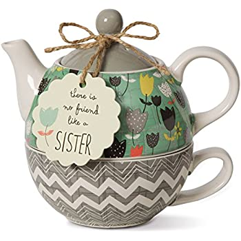 Pavilion Gift Company 74069 Bloom Sister Ceramic Tea for One, 15 oz, Multicolor