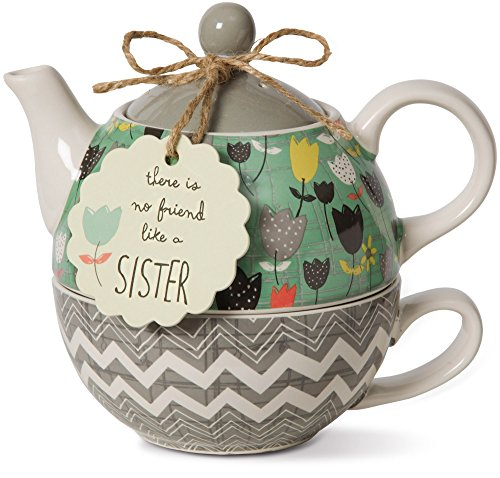 Pavilion Gift Company 74069 Bloom Sister Ceramic Tea for One, 15 oz, Multicolor (Gift Sister)