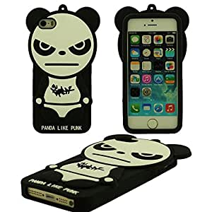 Diseño creativo Cartoon Estilo ' Panda Like Punk ' Linda Panda Gel de silicona suave Case Funda Carcasa Caja protectora para Apple iPhone SE iPhone 5S 5 5C 5G