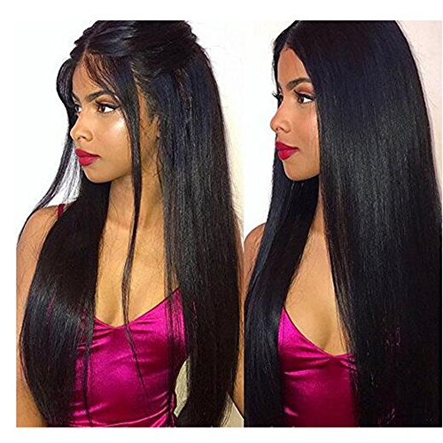 BeliHair Human Hair Wig Straight Lace Front Wigs Brazilian Remy Glueless with Baby Hair for Black Women 130% Density Natural Black …
