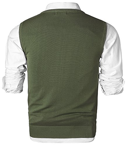 MOCOTONO Men's V-Neck Cotton Sleeveless Sweater Casual Vest Green Medium by MOCOTONO (Image #2)