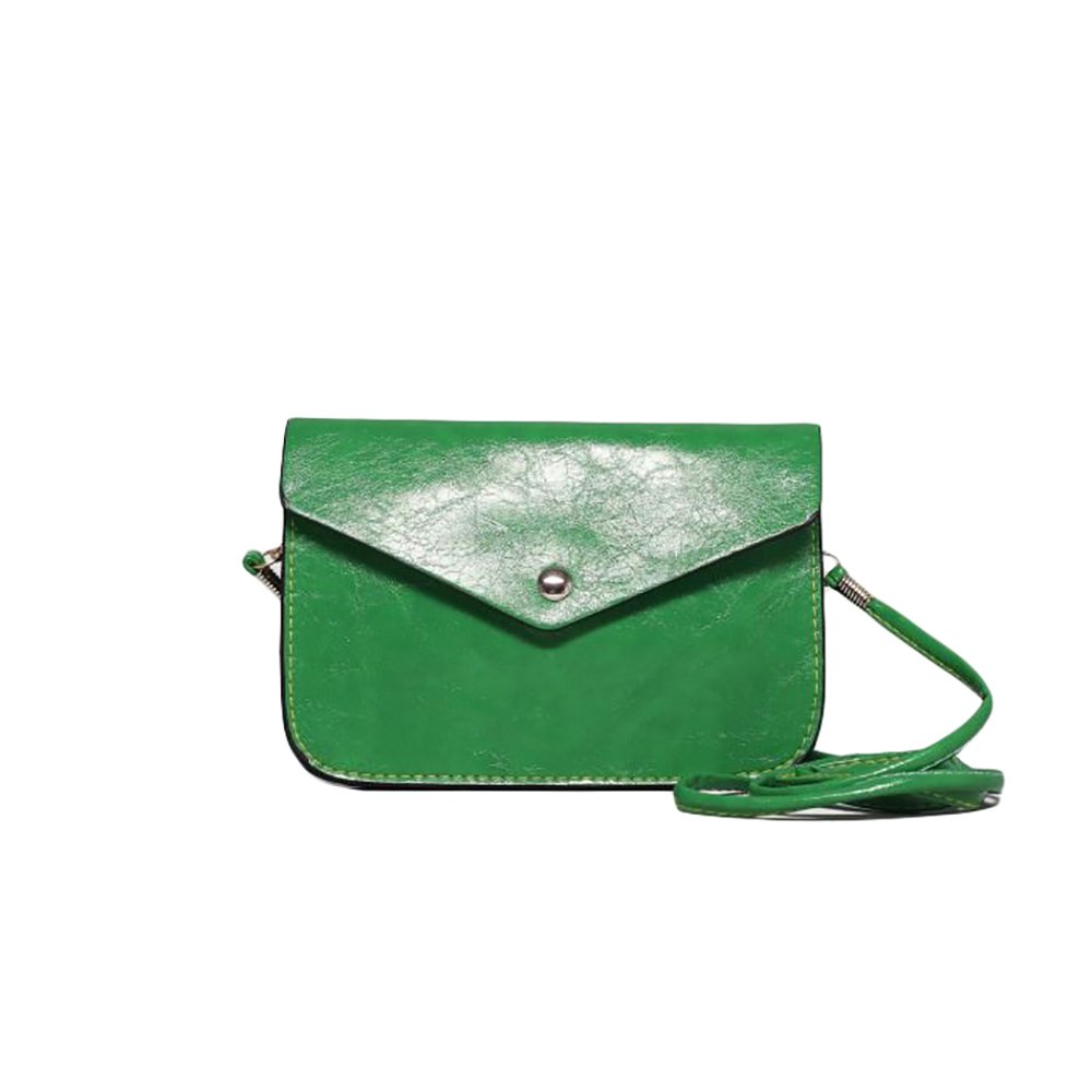 Stylish Ladies Woman Clutch Eco leather Shoulder Bag with Magnet lock and Adjustable Strap Simple Purse (Green-New)