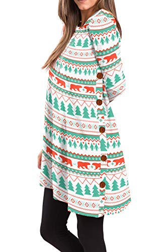 iGENJUN Women's Long Sleeve Scoop Neck Button Side Christmas Tunic Dress,S,MX-16]()