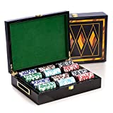 Bey-Berk AJ-G515 Poker Set with 300, 11.5 gram Clay Composite Chips, Two Decks of Playing Cards & 5 Poker Dice in a Inlaid Lacquer Wood Box, Black/Inlay Wood
