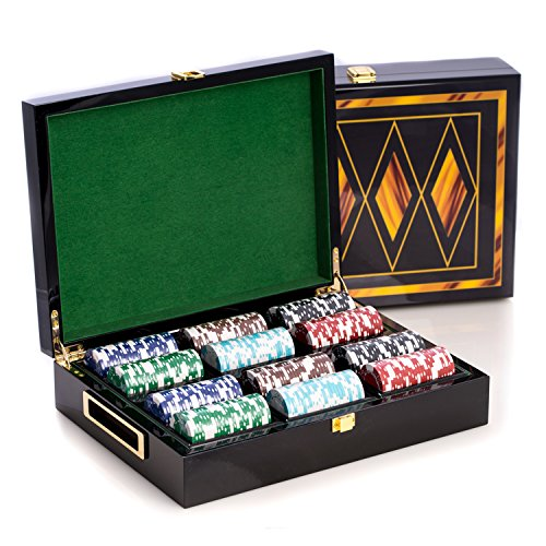 Bey-Berk AJ-G515 Poker Set with 300, 11.5 gram Clay Composite Chips, Two Decks of Playing Cards & 5 Poker Dice in a Inlaid Lacquer Wood Box, Black/Inlay ()