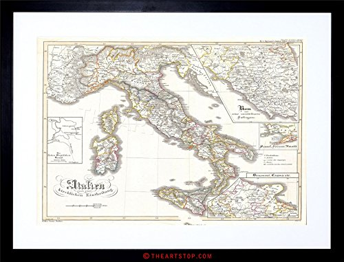 The Art Stop MAP Antique PERTHES Italy Sardinia Sicily Framed Print F12X3476