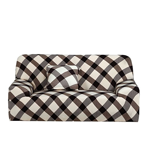 uxcell Sofa Cover 2 Seater Sofa Slipcover Chair Cover Protector Elastic Polyester Fabric Featuring Soft Form Fit Couch Covers 57-72 Inches (Brown Grid) With 1pcs Cushion (Tumble Forms 2 Deluxe Strap)