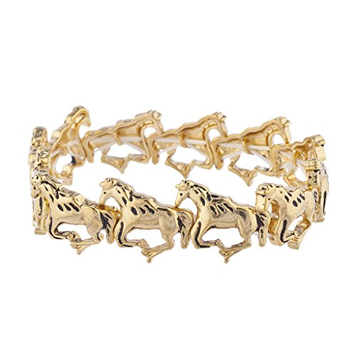 - Lux Accessories Goldtone Wild Horses Running Stretch Bracelet