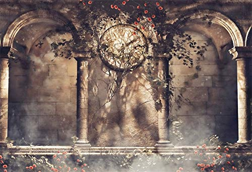 Laeacco Retro Clock Gothic Backdrop 10x8ft Vinyl Photography Background Rose Ivy Arch Architecture Building Stone Wall Fantasy Scene Wedding Parties Backdrops (8 Clock Foot Wall)