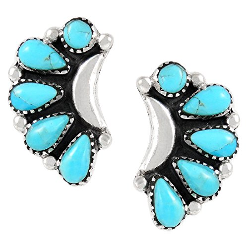Turquoise Earrings 925 Sterling Silver Genuine Turquoise (SELECT style) (Blossoms) by Turquoise Network (Image #1)