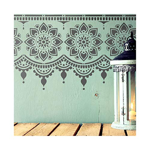 Myah Border Wall Furniture Stencil for Painting M (Indian Wallpaper)