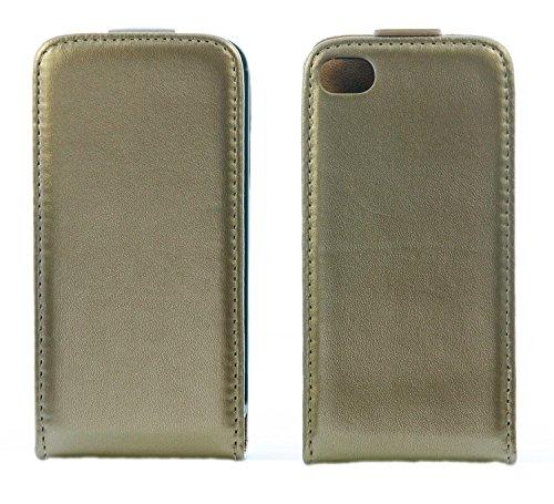 handy-point Flexi Flip Case Klapphülle Klapptasche Tasche Hülle Schutztasche Schutzhülle mit flexibler Gummischale für iPhone 6 6S, Platin