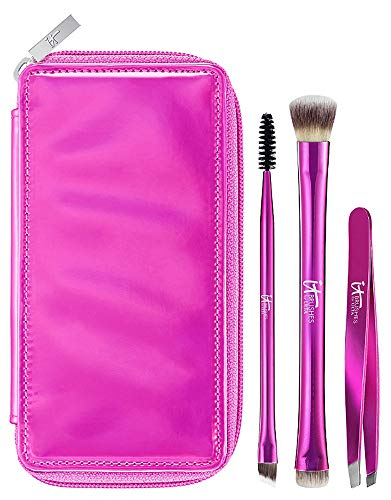 IT Cosmetics Brushes Your Must-Have Travel Brushes For Eyes & Brows Travel Set with Brush Case, 3-PC Set (Must Brows Have Kit For)