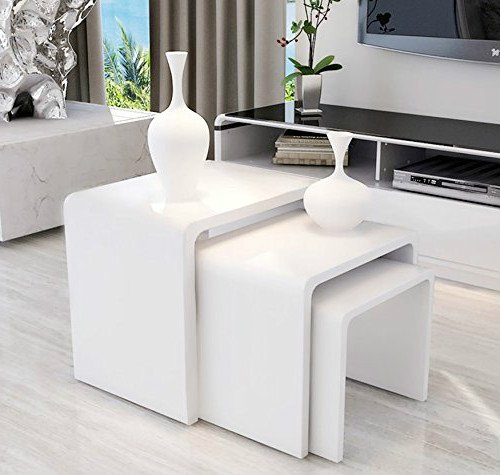 White High Gloss Coffee Table 85 Cm: HomeTrends4You 517050 Side Table 45 X 40 X 38 Cm High