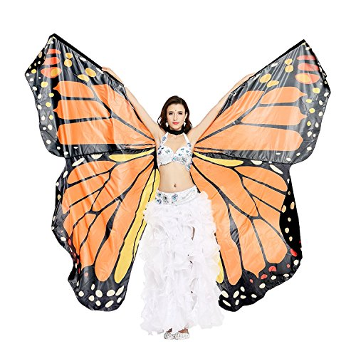 Adult Monarch Butterfly Costumes (Dance Fairy Belly Dance Orange Monarch Butterfly Angel Isis Wings with Sticks)