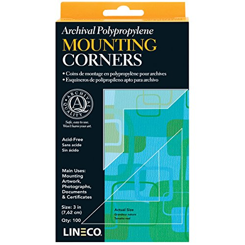 Lineco Self-Adhesive Polypropylene Mounting Corners, Full View, 3 inches, Package of 100 (L533-0037) by Lineco