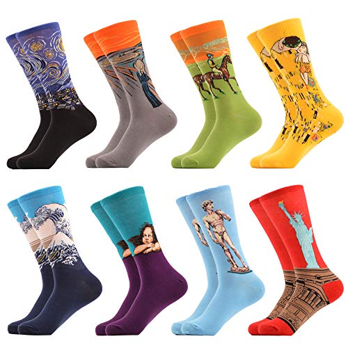 WeciBor Men's Dress Cool Colorful Fancy Novelty Funny Casual Combed Cotton Crew Socks Pack (058-57)