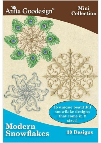 Anita Goodesign Embroidery Designs CD MODERN SNOWFLAKES (Contemporary Embroidery Designs)