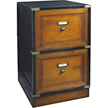 Wood Campaign Filing Cabinet, Black - Antique Style Solid Wood Furniture, Wood Desks and Office Furniture - 15.75 x 26.75 x 19.75 in