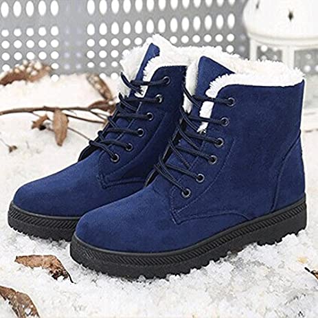 Womens Winter Fur Snow Boots Warm Sneakers Size 7.5 Blue