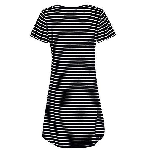 Verano de algodón con rayas Cuello redondo vestido de la camiseta Swim Beach Bikini cubrir hasta el vestido de baño de manga corta de mezclilla falda Blusa de Mujeres Negro
