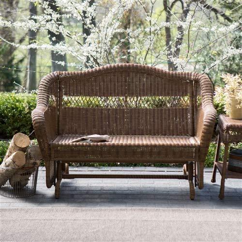 (CHOOSEandBUY Walnut Resin Wicker 2-Seat Outdoor Glider Bench Patio Arm-Chair Glider Bench Patio Outdoor Furniture )