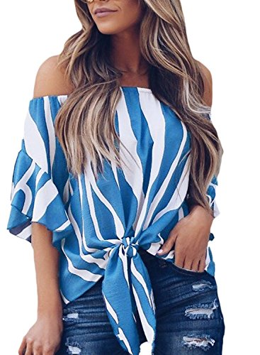 Charlotte Womens Plus Size Fashion 2018 Loose Striped Off Shoulder 3/4 Bell Sleeve Front Tie Knot Blouse Top T Shirts Blue X-Large (Blouse Charlotte)