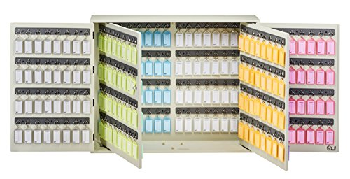 Acrimet Key Cabinet Organizer 256 Positions with Lock (Wall Mount) (256 Multicolored Tags Included) (Beige Cabinet) ()